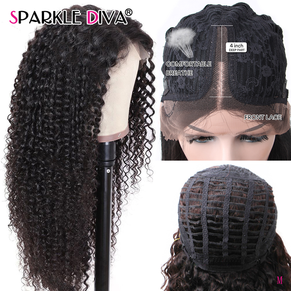 Kinky Curly Lace Part Human Hair Wigs 150% Density 10-26 Brazilian 13*1 Lace Front Wig Pre Plucked With Baby Hair Remy Lace Wig