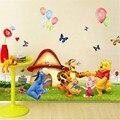 Мультфильм Винни-Пух, тигр, Бабочка, шар, наклейки на стену для детей, детские комнаты, спальни, школы