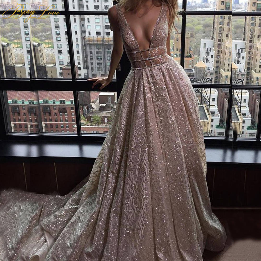 Long Dress For Evening Charming Deep V Neck A Line Floor Length Shiny Formal Dresses Custom Made Party Gowns HB005Evening Dresses   -