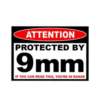 Protected 9 Mm Warning Sticker Pistol Gun Case Safe Ammo Box Car Sticker Accessories Waterproof Car Window PVC 13cm X 10cm image