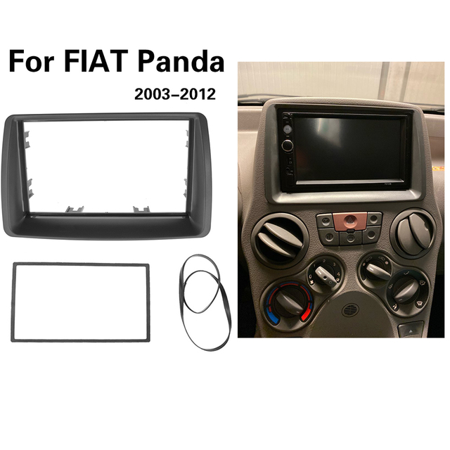2 Din Radio Fascia For FIAT Panda 2003  2012 Double din frame Stereo Panel Dash Mount Installation Trim Kit Frame Plate Bezel