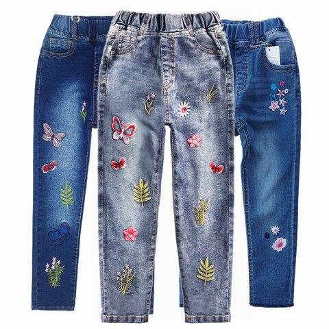 chumhey meninas calcas de brim primavera 100 algodao elastico macio denim calcas criancas bordado flores