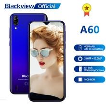 Blackview A60 смартфон четырехъядерный Android 8,1 4080mAh Мобильный телефон 1GB+ 16GB 6,1 дюймов 19,2: 9 экран Двойная камера 3g мобильный телефон