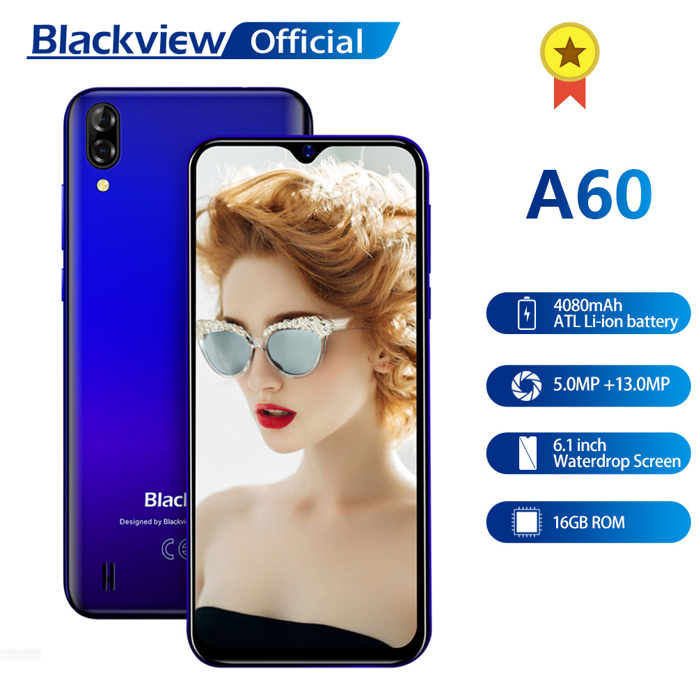 Blackview A60 Smartphone Quad Core Android 8.1 4080mAh Cellphone 1GB+16GB 6.1 inch 19.2:9 Screen Dual Camera 3G Mobile Phone door wireless with monitor