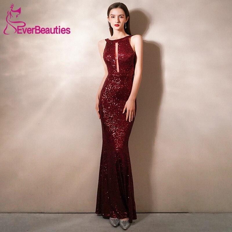 Mermaid Long Evening Dresses Prom Gowns High Neck Robe De Soiree Sexy Backless Abendkleider 2020 Sequins вечерние платья