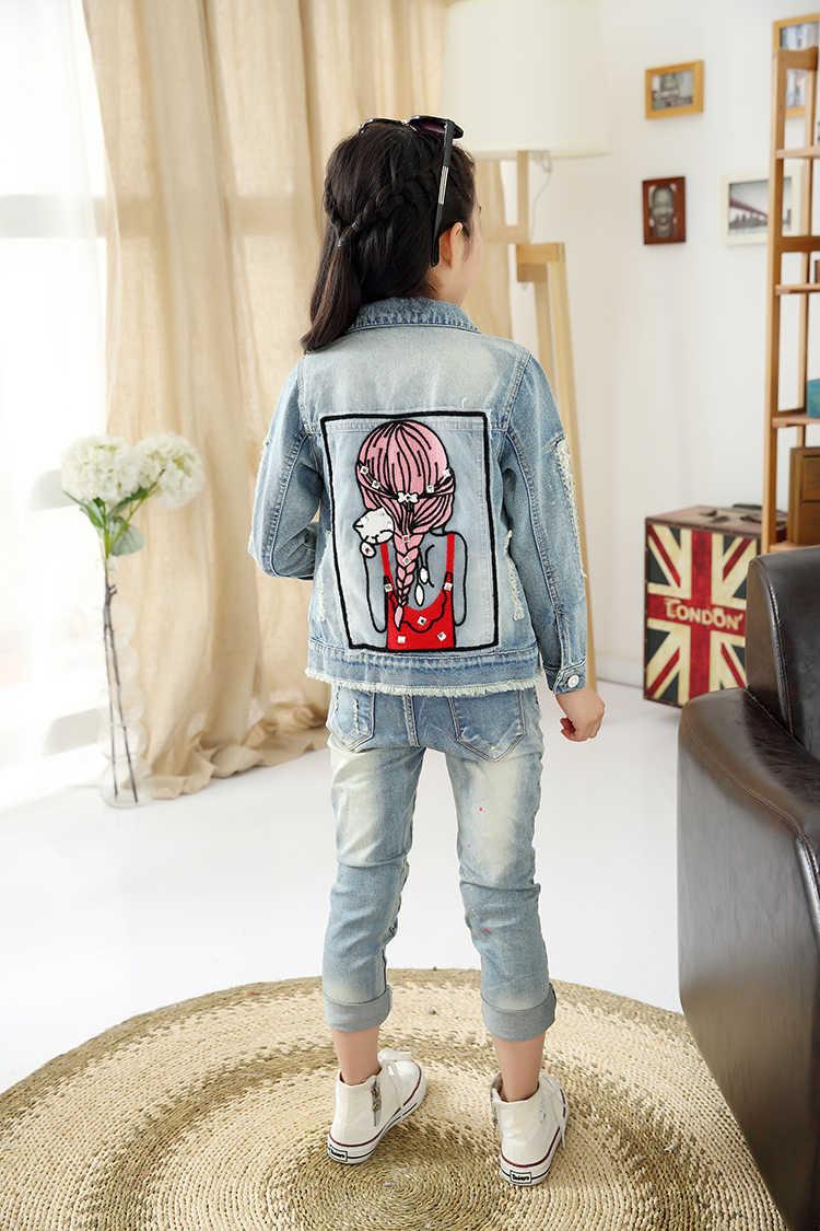 אביב סתיו אופנה בנות ג 'ינס מעיל יפה בהיר יהלומי בנות ג' ינס הלבשה עליונה, fit 2 6 8 10 12 ילדי מעילי ילדה בגדים