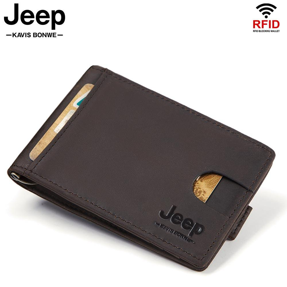 Famous Brand Men Bifold Business Cow Leather Money Clips Fashion RFID Male Wallet Mini Cards Wallet High Quality for