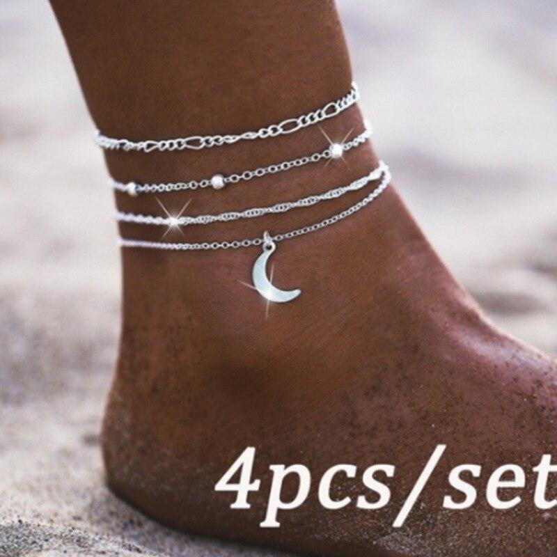 4Pcs/set Adjustable Charming Multilayer Foot Chains Vintage Silver Color Moon Pendant Anklet Set for Women Anklet Tobillera Gift