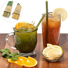 10PCS Reusable Bamboo Drinking Straws Drinks Water Coffee Shakes Kitchen Birthday Wedding Party Drinkware