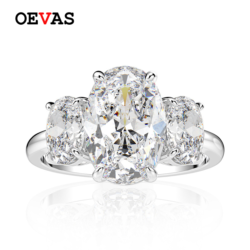 OEVAS Luxury Real 925 Sterling Silver Created Moissanite Gemstone Wedding Engagement Diamonds Ring Fine Jewelry Gift Wholesale