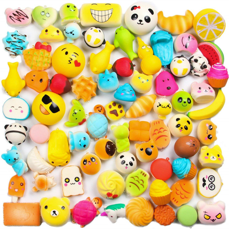 10Pcs/Set Kawaii Soft Squishy Food Slow Rising Bread Cake Donut Animal Toys For Children Kids Cute Stress Relief Toys Funny Gift