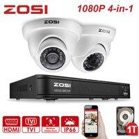 ZOSI 4 チャンネルフル 1080 P 2MP で HD-TVI レコーダーケース DVR キット CCTV システム IR フィルター屋外ナイトビジョン 2 個ドームビデオカメラ