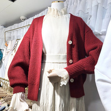 Autumn 2019 Sweater New Women Wear V-neck Single-row Button Knitted Cardigan V-Neck Cardigans