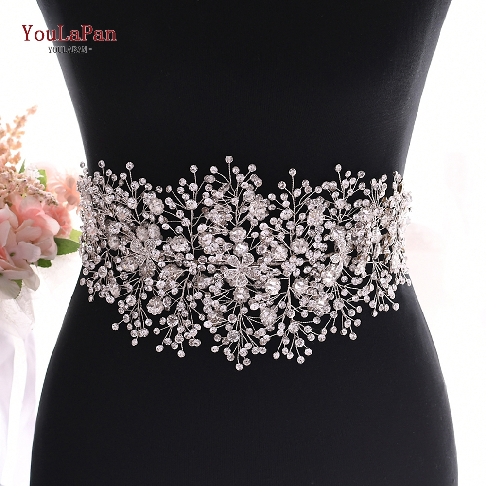 YouLaPan Wedding Dress Belt Rhinestone Belt Silver Diamond Belt Bridal Sash Belt Wedding Flower Belt For Prom Dress Belt SH240