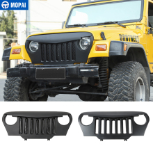 MOPAI Racing Grills for Jeep Wrangler TJ Car Front intake Grid Grill Grille for Jeep For Wrangler TJ 1997-2006 Car Accessories racing grills version aluminum alloy car styling refit grille air intake grid radiator grill for citroen c elysee 2014