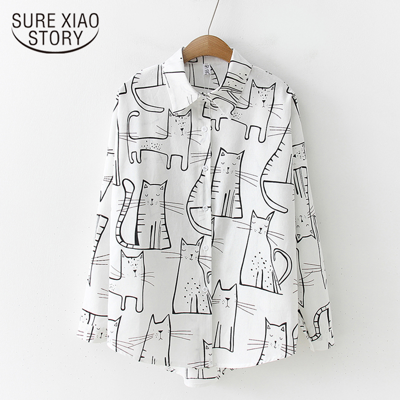 Autumn 2019 Vintage Fashion Women Long Sleeve Shirts Cute Cat Print Shirt Female Loose Casual Blosues Girl Ladies Tops 6828 50