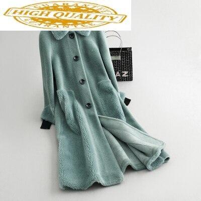 Real Fur Coat Female Fashion Winter Coat Women Clothes 2019 Korean Vintage Long Wool Jacket Warm Coats 18273