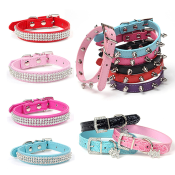 Bling Rhinestone Puppy Dog Collars Adjustable PU Leather Pet Collar for Small Medium Large Dogs Pug Chihuahua Pet Accessories pu leather solid soft colorful pet dog collar for small medium large dogs neck strap adjustable safe puppy kitten cats collar