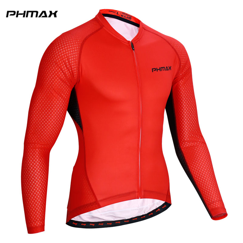 PHMAX 100% Polyester Men Pro Cycling Jersey Maillot Ropa Ciclismo MTB Bike Clothes Long Sleeve Racing Bicycle Cycling Clothing