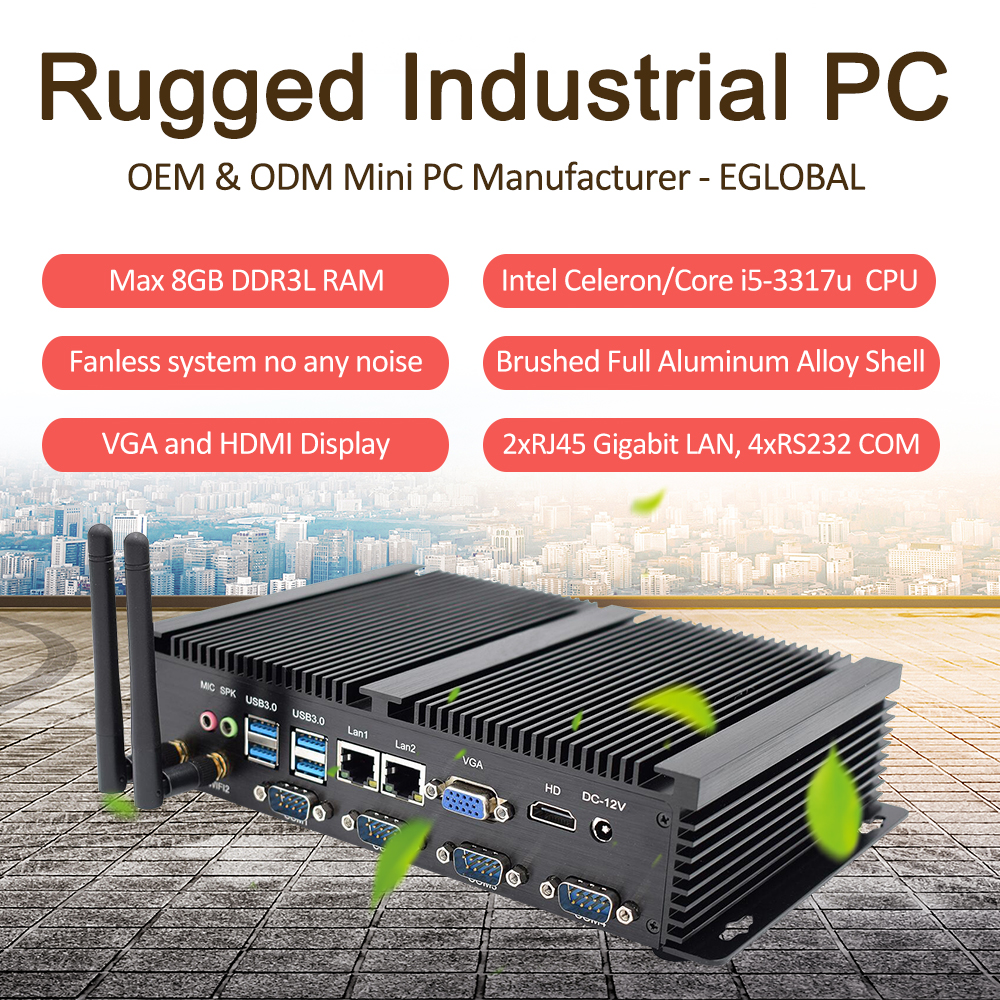 Industial Mini PC Intel Celeron 1007U/1037U Core I5 3317U 4 RS232 COM Fanless Mini Rugged Computer 8 USB VGA HDMI Dual RJ45 Lan