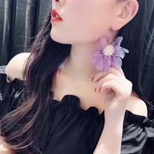 цены Gold Color Wafer Purple Petal Earrings For Women New Korean Style Elegant Flowers Long Earrings Fashion Party Jewelry Sweet Gift