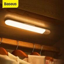 Baseus LED gardırop ışığı PIR hareket sensörlü ışık USB şarj edilebilir LED gece ışığı gece lambası mıknatıs duvar ışık sıcak beyaz ışık