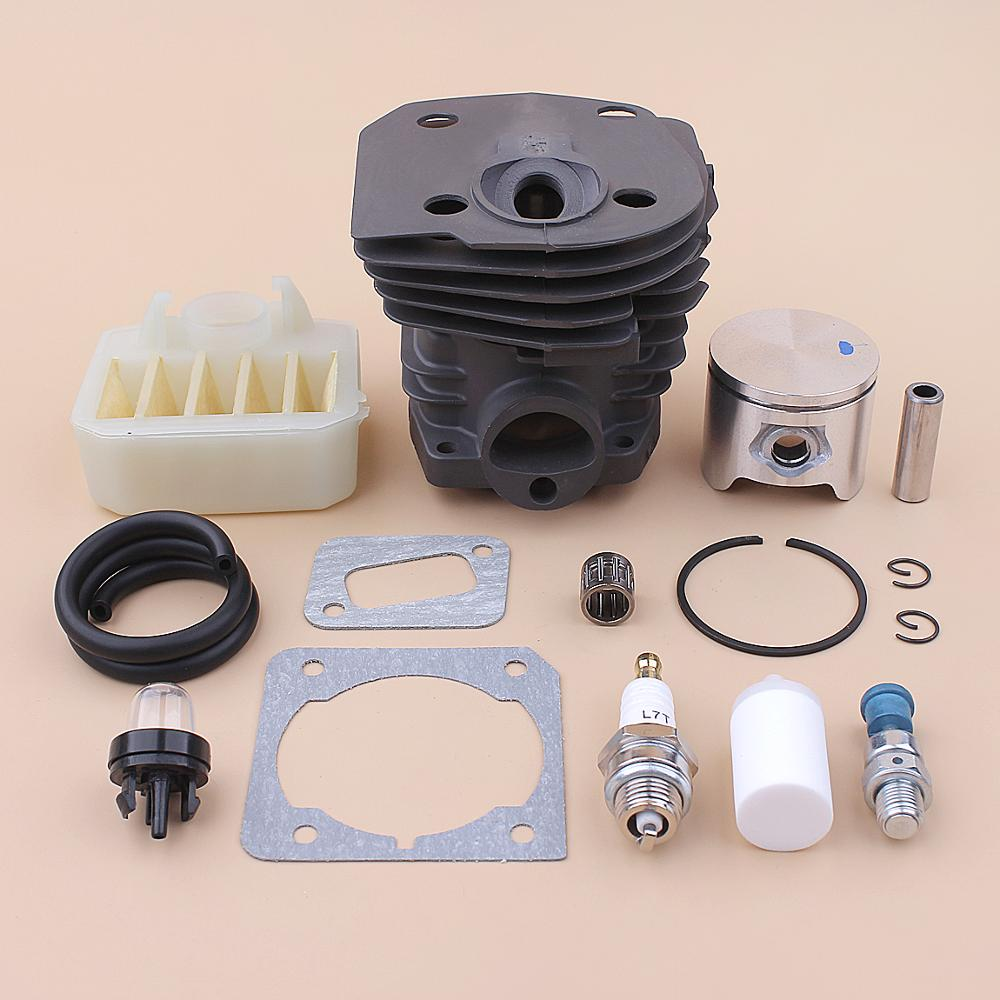 44mm Cylinder Piston Kit For Husqvarna 350 351 353 346XP Air Fuel Filter Line Primer Bulb Gasket Set