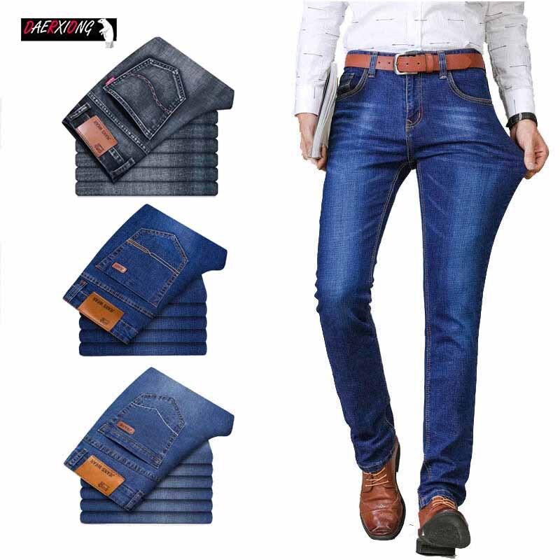 Mens Jeans Brand 2020 Business Jeans Men Stretch Slim Denim Jean Homme Man Denim Trousers Blue Black Pants Male Clothes
