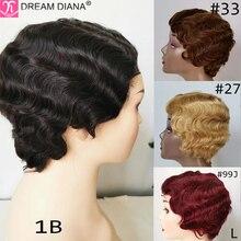 "DreamDiana ברזילאי שיער פאות מראש בצבע שיער טבעי פאות קצר גלי בוב פאות שאינו רמי 4 ""#27 30 100% שיער טבעי פאות נמוך יחס"