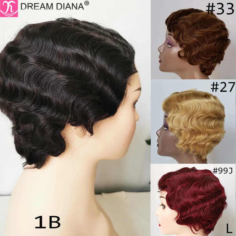 """Pelucas de cabello brasileño DreamDiana, pelucas de cabello humano ondulado corto por encima de los hombros, pelucas no Remy de 4 """"#27 30 100%, Ratio bajo de cabello humano"""