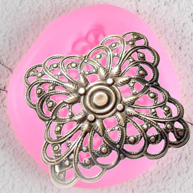 Винтаж кнопки кружева силиконовые формы DIY рельеф Топпинг для кексов инструменты для украшения тортов из мастики конфеты глины шоколадные формы для мастики