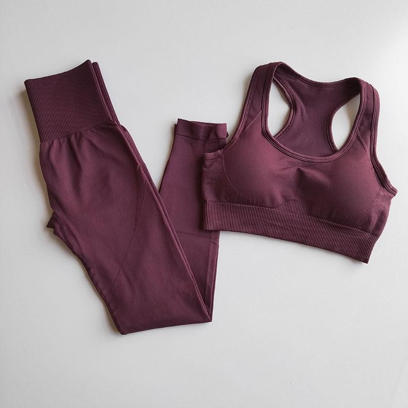 Комплект для йоги бесшовный из 2 предметов, тренировочная одежда для женщин, спортивный бюстгальтер с мягкими чашечками и спортивные Леггин...
