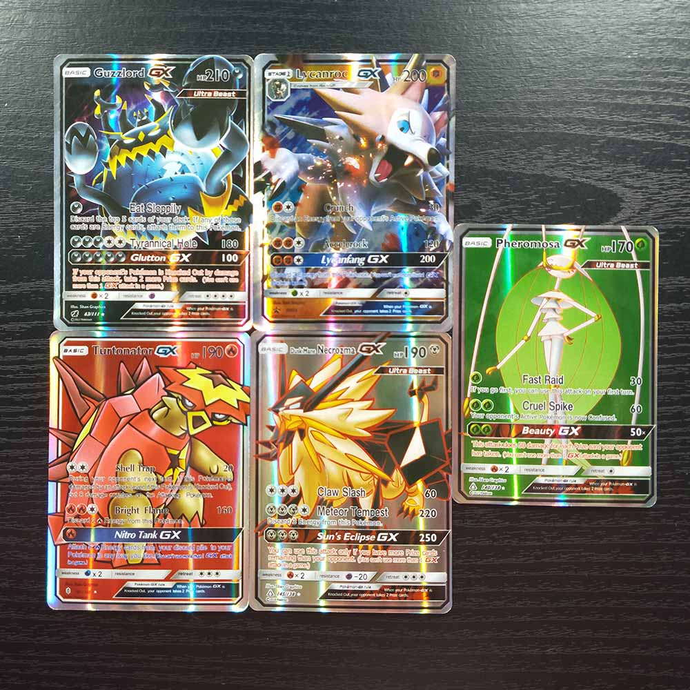 TAKARA TOMY Pokemon Cards Collections Battle Shining Card Deck Board Game Children Toys 60 Flash Cards GX MEGA