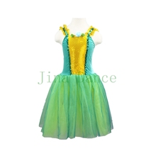 Verdancy green romantic ballet costume Lyrical stage dance wear light skirt yellow performance baby
