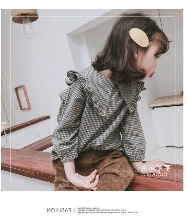 2019 Girl's   shirt   big collar checked   shirt   spring and autumn dress new children's wear girls plaid girl   blouse
