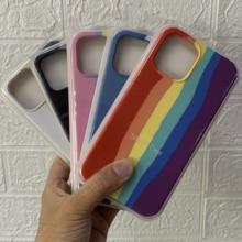 10pcs/lot Newest Rainbow Colors Original Silicone Case For 12Min 12Pro Max 12 7 8 Plus X XR XS MAX 11 Pro Max Full Cover Case