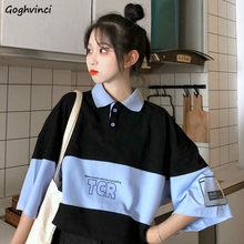 T-shirt à col rabattu pour femme, haut ample, Style japonais, avec lettres imprimées, Style décontracté, Hipster, Patchwork, été