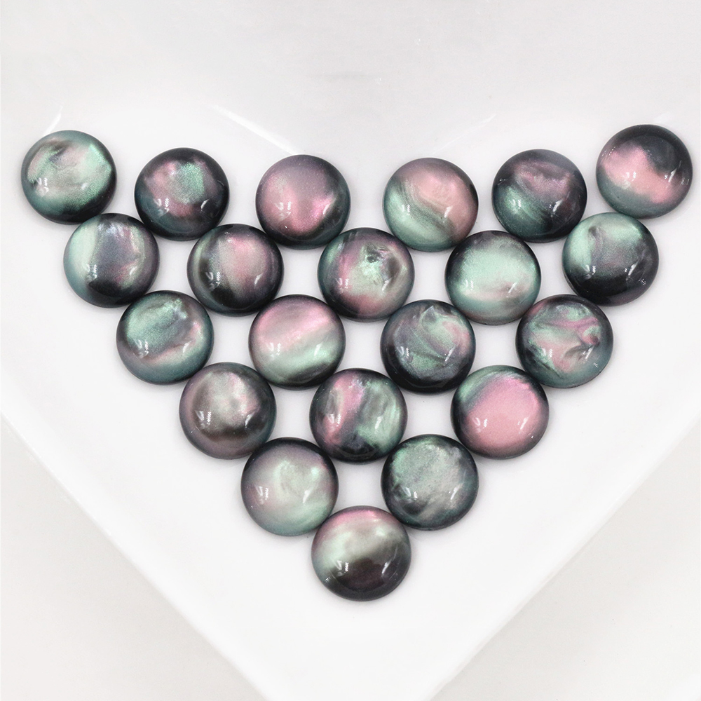 New Fashion 20pcs 10mm Black Color Flat Back Resin Cabochons Cameo  G6-38