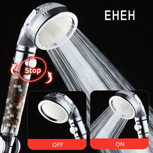 Bathroom Switch Button High Pressure 3 Modes Adjustable Bath Rain Shower Head Water Saving SPA Tourmaline Filter