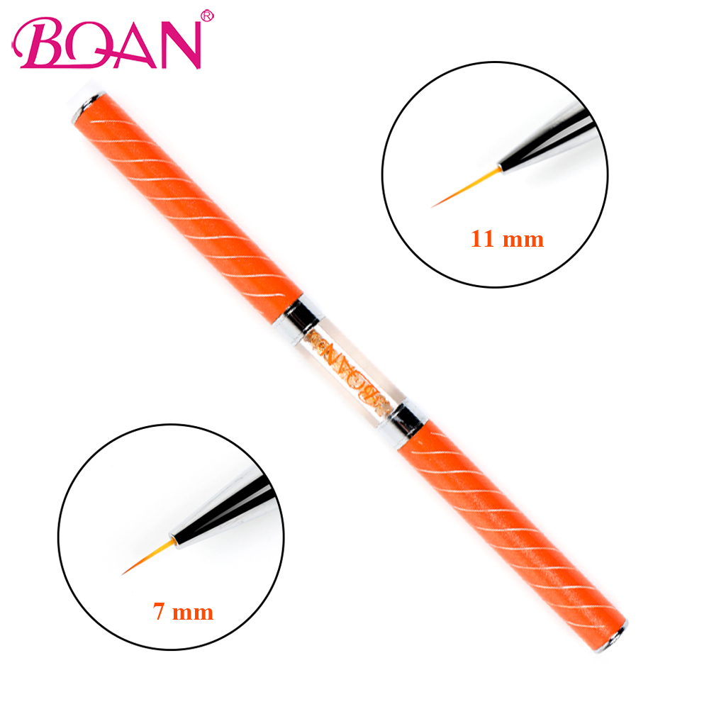 BQAN Double Head Liner Nail Art Brush With Rhinestones Handle To Drawing Nail Line Pen 11