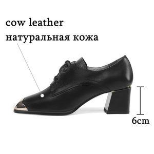 Image 2 - ALLBITEFO natural genuine leather high heel shoes comfortable women heels spring autumn high heels Frenulum office ladies shoes