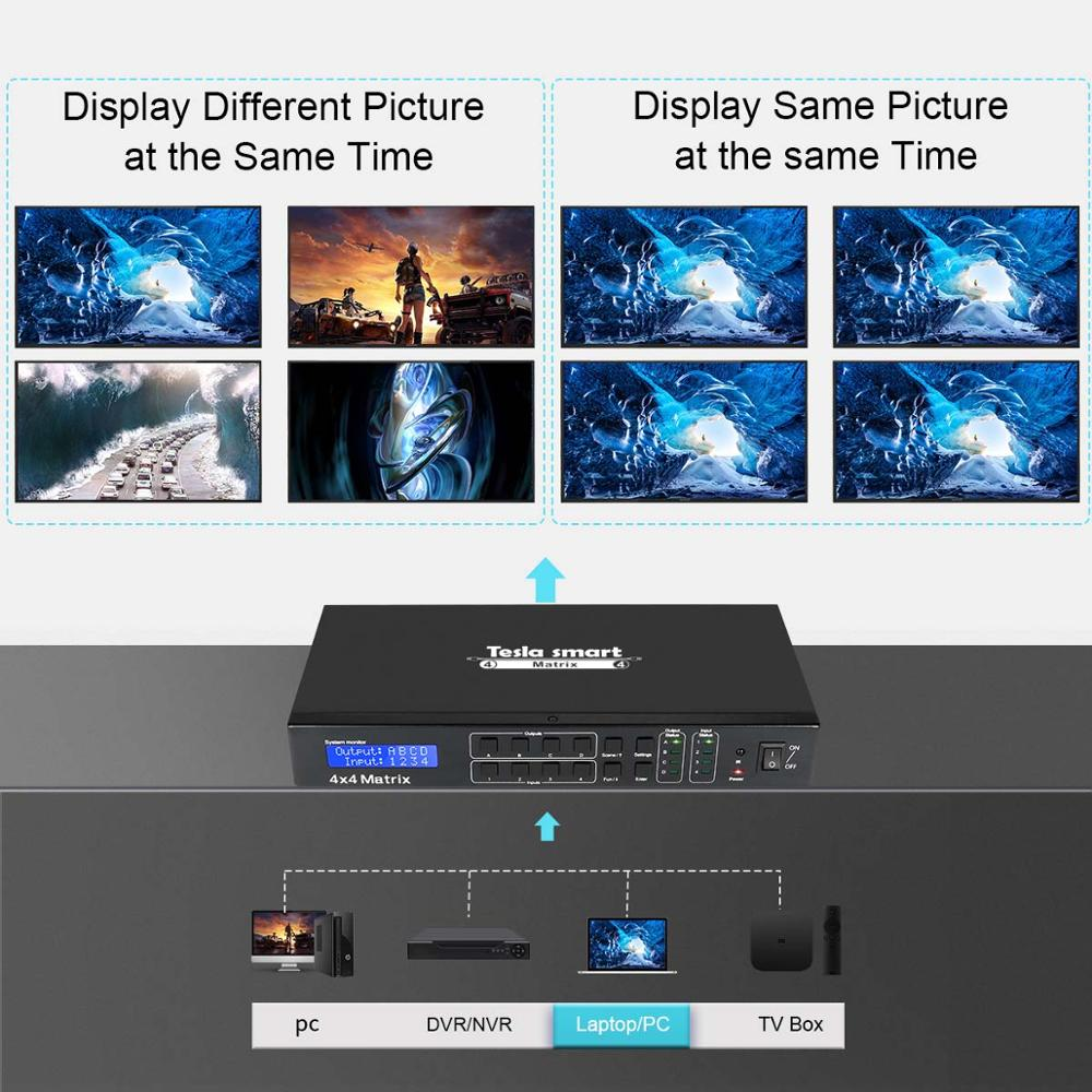 Image 4 - 4K 4x4 HDMI Matrix 4 In 4 Out Ultra HD 4K with LAN RS232 Up to4K*2K(3840*2160)@30HZ HDCP 3D HDMI 1.4 Complianttesla smartversion  -