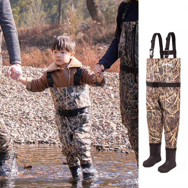 NEYGU kids Waterproof wading pants with Winter Boots, Breathable Kids huting Waders for Fishing and Water Playing