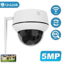 Unilook 5mp sem fio mini câmera ip ptz 5x zoom suporte ao ar livre bidirecional áudio buit no slot para cartão sd câmera wi-fi h.265 p2p vista