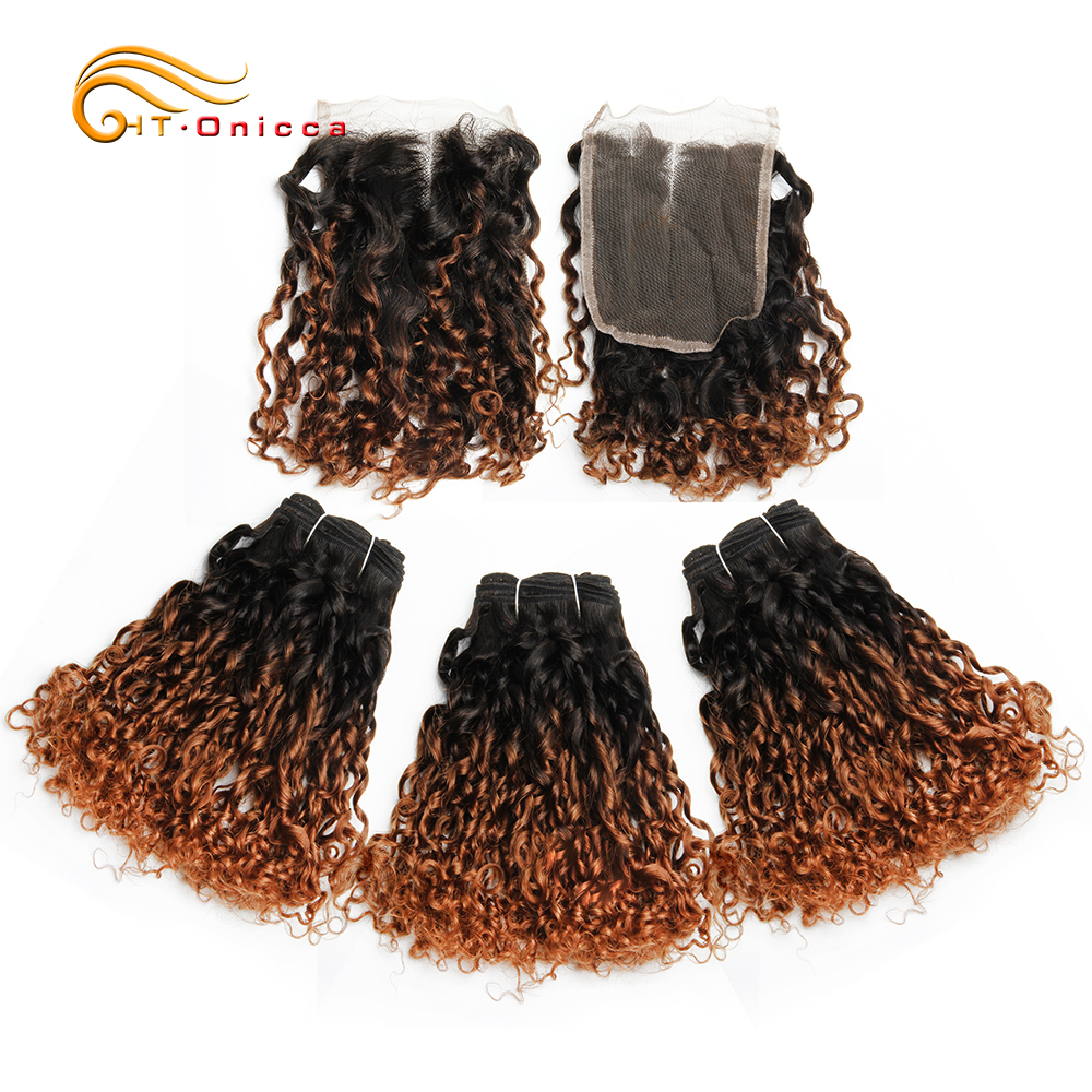 Brazilian Pixie Curls Human Hair Weave Bundles Hair Extensions Ombre Bundles With Closure 1B/30 Remy Hair Bundles With Closure