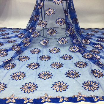 African beads Lace Fabric 2019 blue High quality Stones with Embroidery Nigerian Lace Fabric For Women French Mesh Lace Fabric