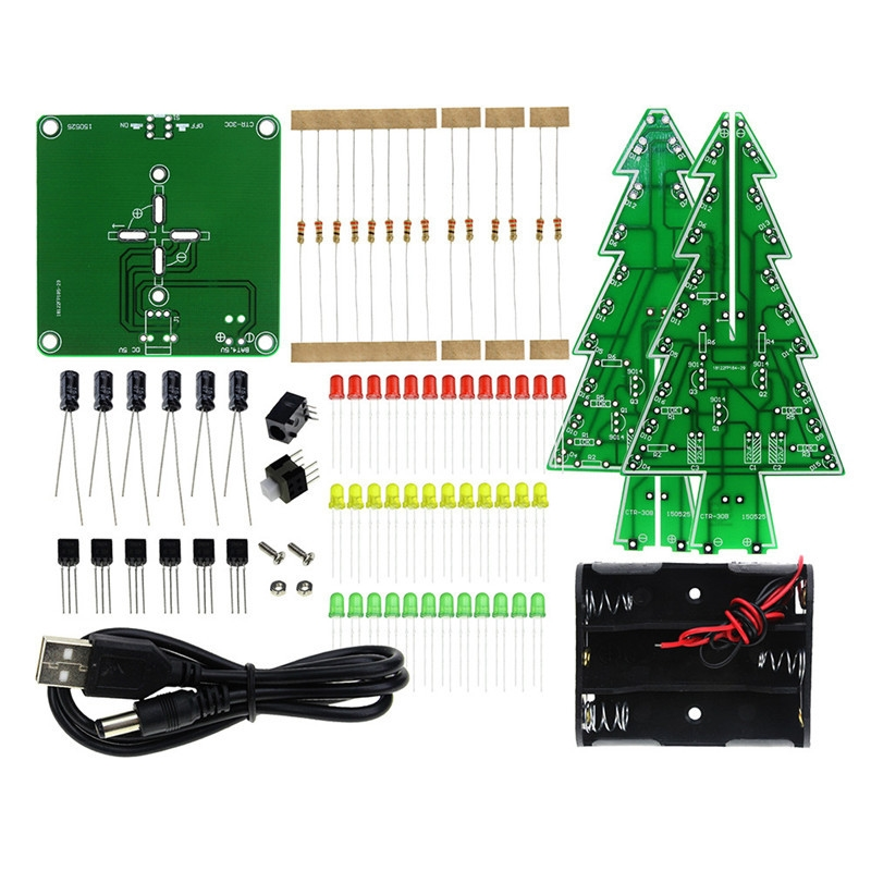 CLAITE DIY Colorful Christmas Tree Kit Tricolor Gift Present MerryChristmas LED Water Light Christmas Flash Electronic DIY Parts