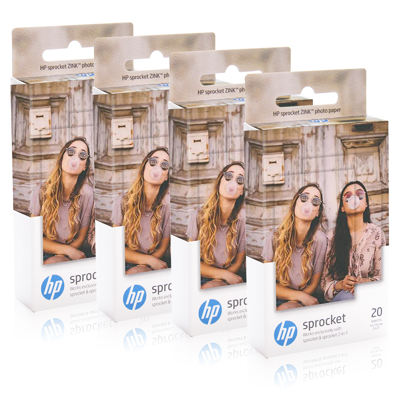 NEW HP ZINK Photo Paper for HP Sprocket Photo Printer 100 5 Boxes - 20 sheets