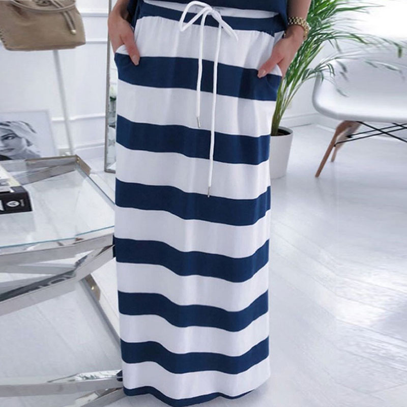 Fanbety women sexy off shoulder Two Piece Sets dress Boat Anchor Print Shirts Striped dress Sets Lady casual Ankle-Length dress 5