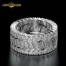 Jewepisode 100% 純粋な 925 スターリングシルバー作成モアッサナイトサークル指女性の婚約指輪ジュエリークリスマスギフト